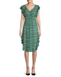 Plenty by Tracy Reese - Green Ruffled Checkered Dress - Lyst