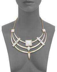 Alexis Bittar - Metallic Miss Havisham Deconstructed Deco Howlite & Crystal Armored Bib Necklace - Lyst
