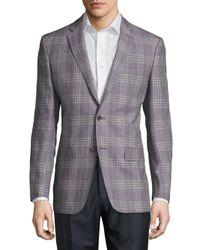 Versace   Purple Wool-blend Plaid Jacket for Men   Lyst