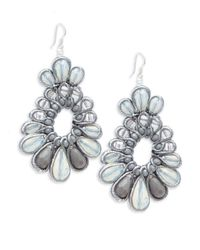 Panacea - Gray Beaded Drop Earrings - Lyst