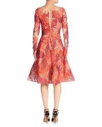 Naeem Khan - Red Threadwork Long Sleeve Dress - Lyst