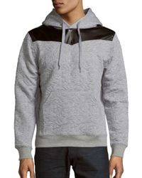Prism - Gray Long-sleeve Quilted Hoodie for Men - Lyst
