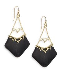 Alexis Bittar - Black Imperial Lucite & Crystal Georgian Lace Chandelier Earrings - Lyst