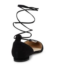 Nine West - Black Suede Point Toe Flats - Lyst