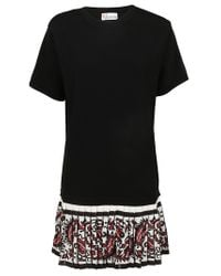 RED Valentino - Black Pleated Hem T-shirt Dress - Lyst