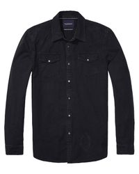 Scotch & Soda - Black Amsterdams Blauw Shirt for Men - Lyst