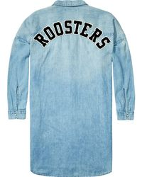 Scotch & Soda - Blue Oversized Denim Shirt - Lyst