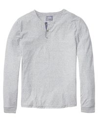 Scotch & Soda - Blue Neppy Henley Grandad T-shirt for Men - Lyst
