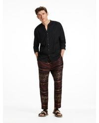 Scotch & Soda | Black Owen - Lightweight Jacquard Trousers Wide Fit for Men | Lyst