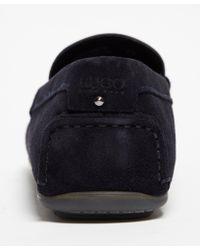 HUGO - Blue Men's Dandy Suede Driving Shoes for Men - Lyst