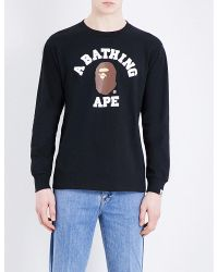 A Bathing Ape - Black Ape Long-sleeved Cotton T-shirt for Men - Lyst
