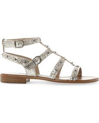Dune - Metallic Lorie Studded Leather Sandals - Lyst