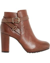 Dune | Brown Puggy Block Heeled Ankle Boots | Lyst