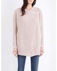 DIESEL   Pink M-quieres Chunky-knit Cardigan   Lyst