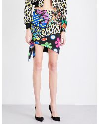 Moschino - Multicolor Printed Silk-twill Mini Skirt - Lyst