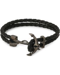 Nialaya - Black Anchor Braided Leather Bracelet for Men - Lyst