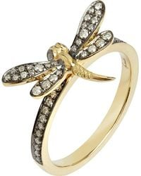 Annoushka - Metallic Love Diamonds 18ct Yellow-gold Dragonfly Ring - Lyst