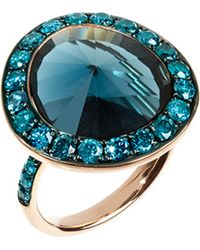 Annoushka | Blue Dusty Diamonds 18ct Rose-gold Topaz And Diamond Ring - For Women | Lyst
