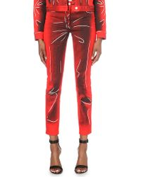 Moschino - Red Crease-print Skinny Mid-rise Jeans - Lyst