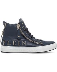 Philipp Plein   Blue Vibes Leather High-top Trainers for Men   Lyst