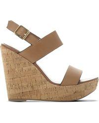 Steve Madden | Brown Esme Leather Wedge Sandals | Lyst
