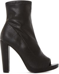 Steve Madden | Black Especial Leather Peep-toe Ankle Boots | Lyst
