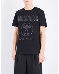 Moschino | Black Logo-print Cotton-jersey T-shirt for Men | Lyst