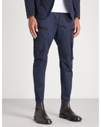 DSquared² - Blue Tapered Cotton-drill Cargo Trousers for Men - Lyst