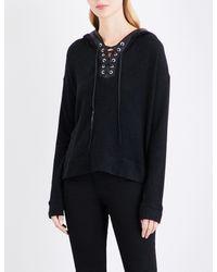 3fd5c0821bc Lyst - The Kooples Sport Leather-trim Fleece Sweatshirt in Black