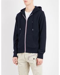 Tommy Hilfiger | Blue Core Striped-detail Cotton-jersey Hoody for Men | Lyst