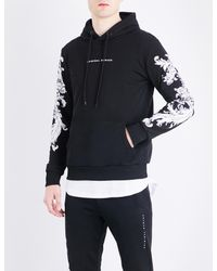 Criminal Damage - Black Paulo Floral-embroidered Cotton-jersey Hoody for Men - Lyst