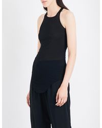 Rick Owens - Black Raw Curved Hem Knitted Top - Lyst