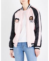 A Bathing Ape - Pink Betty Satin Bomber Jacket - Lyst