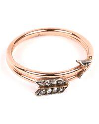 Annina Vogel - Metallic 9 Carat Rose Gold And Diamond Arrow Ring - Lyst