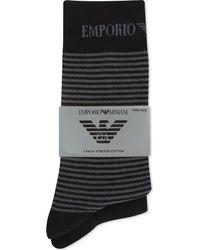 Emporio Armani - Black Plain And Striped Socks 2-pack for Men - Lyst