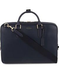 Smythson - Blue Burlington Slim Deerskin Briefcase for Men - Lyst