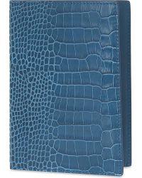 Smythson - Blue Mara Leather Passport Cover - Lyst