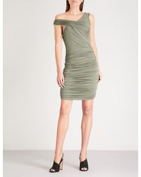 Kendall + Kylie - Green Off-the-shoulder Ruched Jersey Dress - Lyst