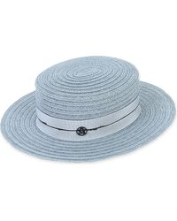 Maison Michel - Blue Kiki Sewn Hemp Straw Hat - Lyst