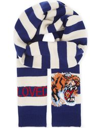 Gucci - Blue Striped Wool Scarf for Men - Lyst