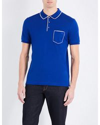 Ferragamo | Blue Cotton-piqué Polo Shirt for Men | Lyst
