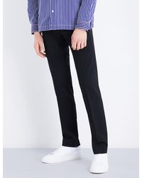 Sandro - Black Cropped High-rise Wool-blend Trousers for Men - Lyst