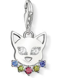 Thomas Sabo   Metallic Charm Club Silver And Zirconia Cat Charm   Lyst