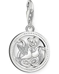 Thomas Sabo - Metallic Charm Club Silver And Zirconia Birds Charm Pendant - Lyst