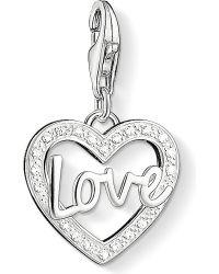 Thomas Sabo | Metallic Charm Club Silver And Zirconia Love Charm Pendant | Lyst
