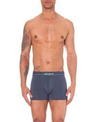 Lacoste | Blue Logo-print Jersey Trunks for Men | Lyst