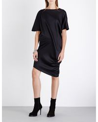 Ann Demeulemeester - Black Draped Stretch-silk-satin T-shirt - Lyst