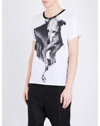 Ann Demeulemeester | White Dog-print Cotton-jersey T-shirt for Men | Lyst