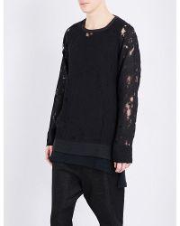 Ann Demeulemeester | Black Laddered Linen-blend Sweatshirt for Men | Lyst