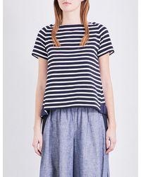 Sacai   Blue Dixie Striped Cotton-jersey T-shirt   Lyst